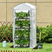 Outsunny 4 Tiers Mini Portable Greenhouse Plant Grow Shed Metal Frame Green Cover 160H x 70L x 50Wcm