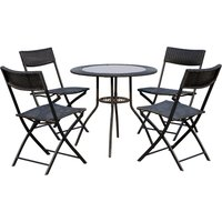 Outsunny 5 Pcs Rattan Furniture Set W/Round Table, Steel-Black