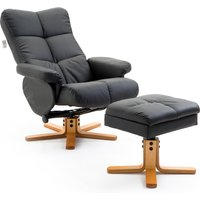 HOMCOM Wooden Recliner PU Leather Chair Adjustable Base Swivel and Ottoman Footrest W/Stool-Black