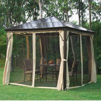 Outsunny 3x3 m Gazebo W/Mosquito Net-Brown/Black/Beige