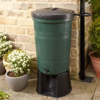 Cloudburst Water Butt Kit with Rain Diverter Kit - 200 litre - Green