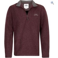 Weird Fish Mens Morle Zip Neck Grid Micro Fleece - Size: XXXL - Colour: DARK WINE