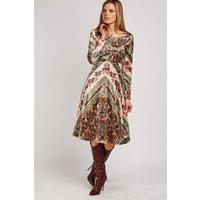 Vintage Print Flared Velveteen Dress