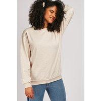 Ribbed Edging Cream Sweatshirt