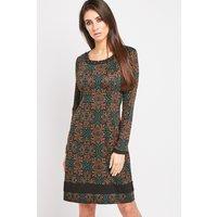 Encrusted Trim Printed Dress