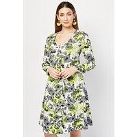 Flower Neon Contrast Midi Dress