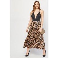 Leopard Print Accordian Pleated Skirt