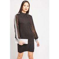 Sequin Sleeve Panel Shift Dress