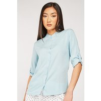 'Mandarin Collar Plain Blouse