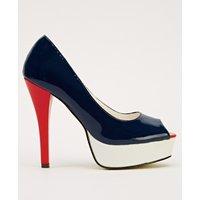 Block Colour Patent PVC Peep Toe Shoes