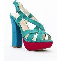 Three Tone Block Heel Sandals