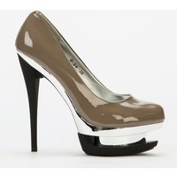 'Silver Cut Out Platform Heels