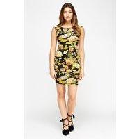 'Floral Black Bodycon Dress