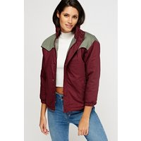 3/4 Sleeves Colour Block Padded Jacket