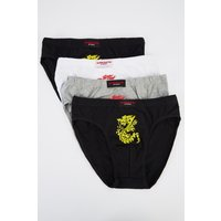 Pack Of 4 Dragon Print Mens Briefs