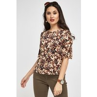 Abstract Print With Frilly Sleeve Top