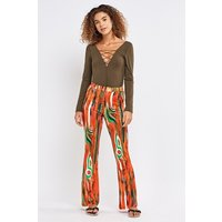 Abstract Paint Print Flared Leggings
