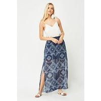 Bandana Print Sheer Maxi Skirt