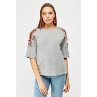 3d Embroidered Flower Applique Top