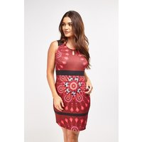 Arabesque Print Contrast Midi Dress