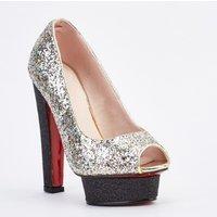'Silver Glittered Platform Heels