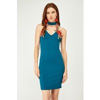 Choker Neck Embroidered Bodycon Dress