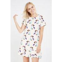 'Novelty Bird Print Peplum Dress
