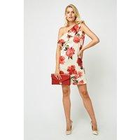 Asymmetric Floral Sateen Dress