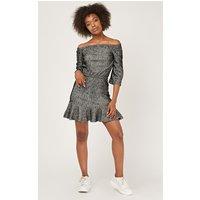 'Off Shoulder Speckled Peplum Dress
