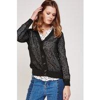 Button Front Crochet Knit Cardigan
