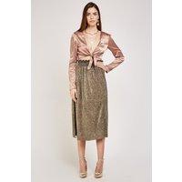 Metallic Slit Side Midi Skirt