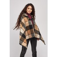 Checkered Hooded Poncho