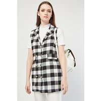 Gingham Patterned Sleeveless Duster Coat