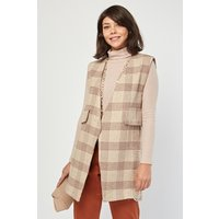 Checkered Sleeveless Duster Coat
