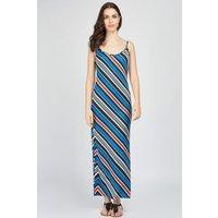 Asymmetric Stripe Slip On Maxi Dress
