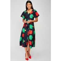 Apple Tree Print Midi Dress