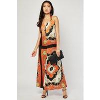 Baroque Print Maxi Halter Dress