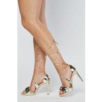 3d Flowers Metallic Heeled Sandals
