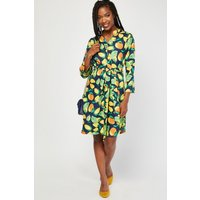 Belted Fruit Print Tunic Dress