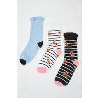 12 Pairs Of Stripe Floral Socks