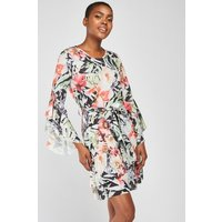 Asymmetric Ruffle Floral Dress