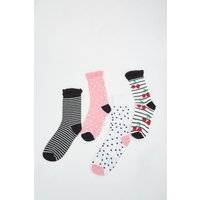 12 Pairs Of Cherry Stripe Contrast Socks
