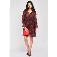 Bell Sleeve Flower Print Tunic Dress
