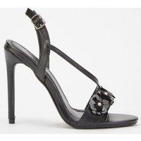 3d Flower Contrast Heeled Sandals