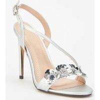 3d Flower Trim Metallic Sandals