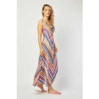 Asymmetric Stripe Maxi Dress