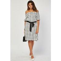 A-line Window Pane Print Dress