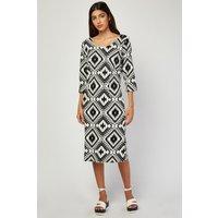 3/4 Sleeve Aztec Print Dress