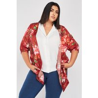 All Over Flower Print Long Line Kimono