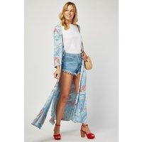 All Over Paisley Print Maxi Kimono